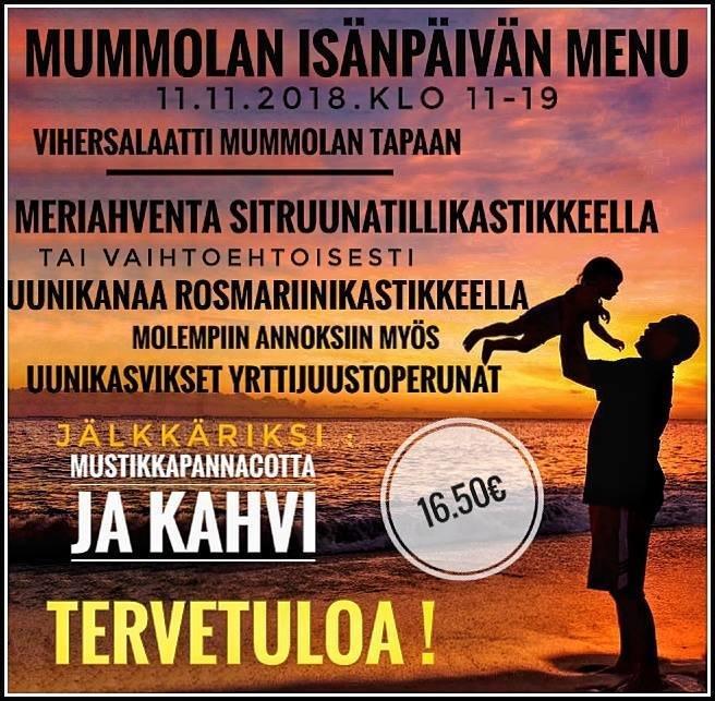 Suomipaikat - Mummolan isänpäivän menu