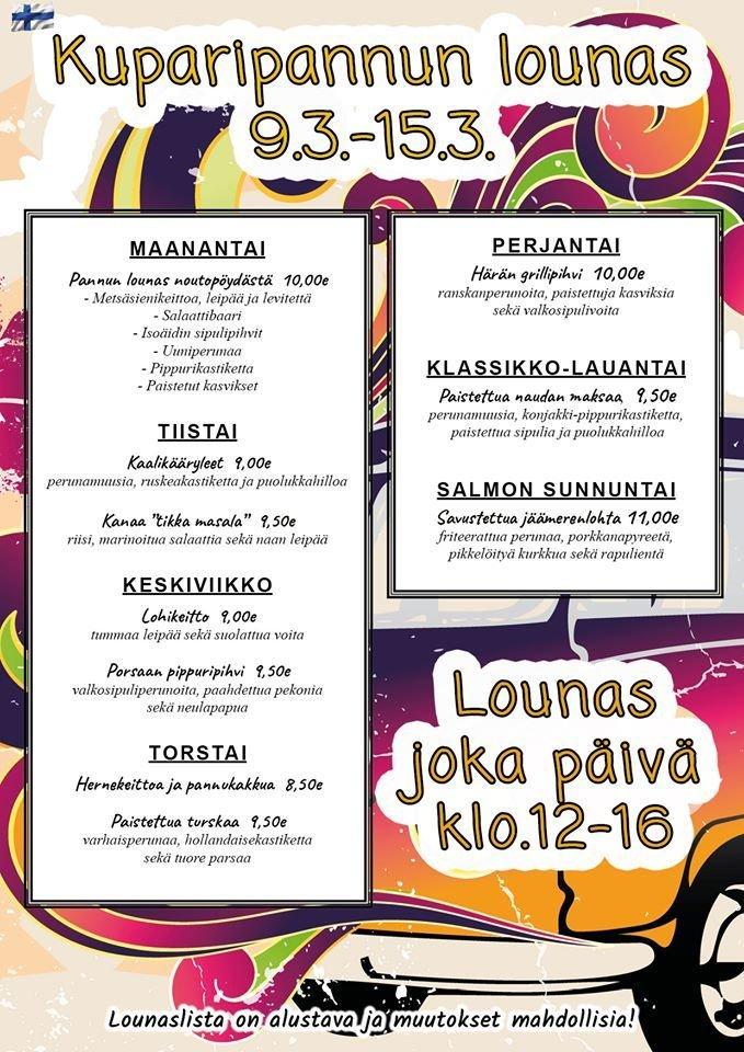Suomipaikat - Kuparipannun lounaslista