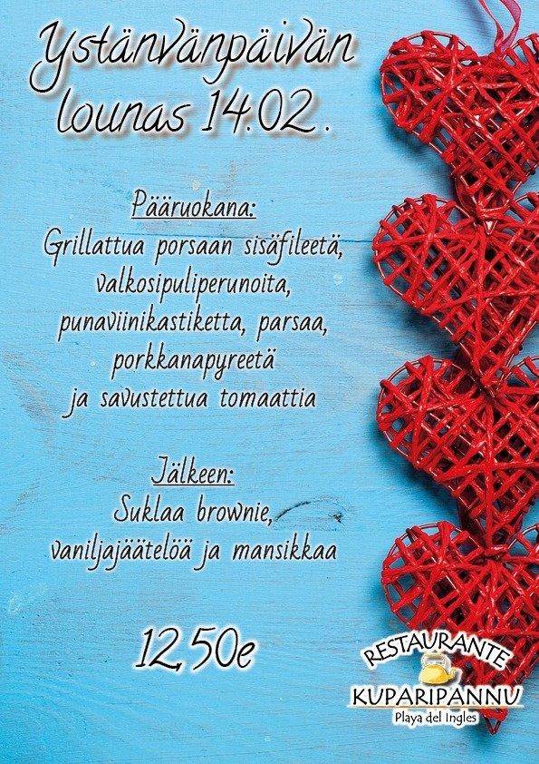 Suomipaikat - Kuparipannun ystävänpäivän lounasmenu