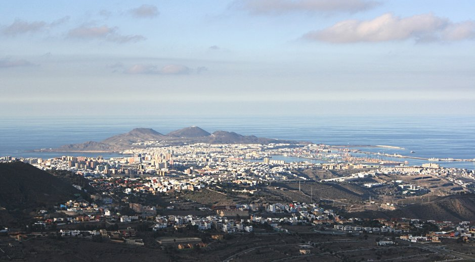 Gran Kanaria pääkaupunki Las Palmas. Näkymä Baldaman näköalapaikalta.
