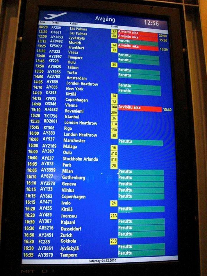 Suomen lento- ja muu liikenne<br /> sekaisin perjantaina