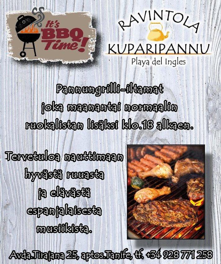 Suomipaikat - Kuparipannun maanantain grilli-iltamat tänään klo.18.00 alkaen!