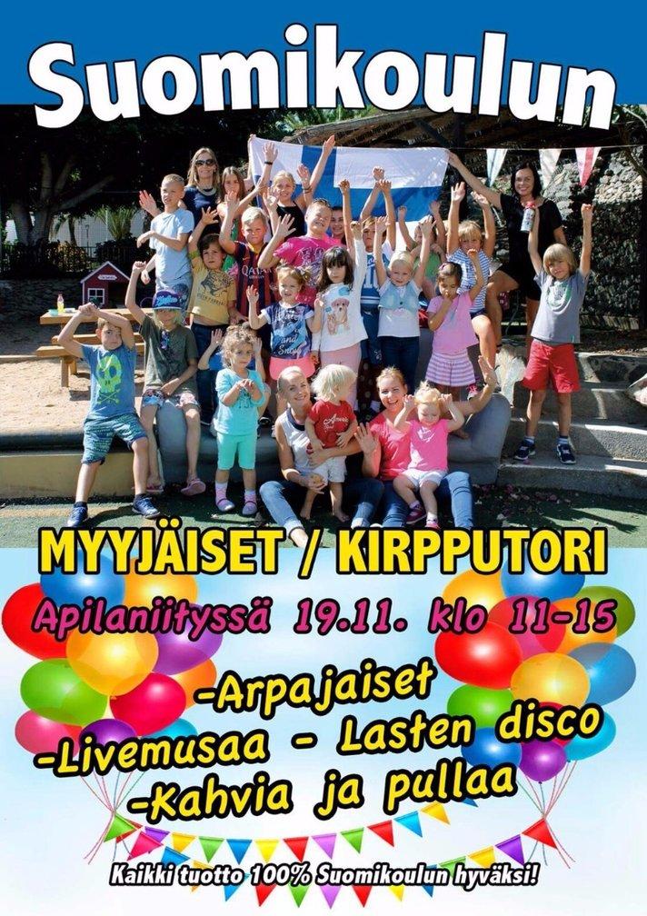 Menovinkki:<br /> La 19.11. myyj&auml;is-kirpputoritapahtuma<br /> Apilaniityss&auml; Suomi-koulun hyv&auml;ksi