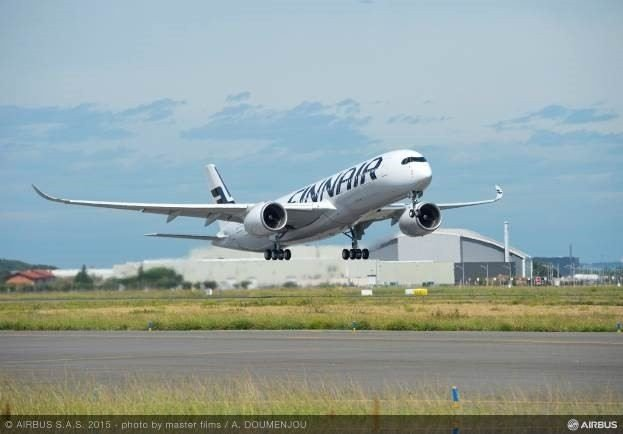Finnairin ensimm&auml;inen A350<br /> teki ensilentonsa Ranskassa