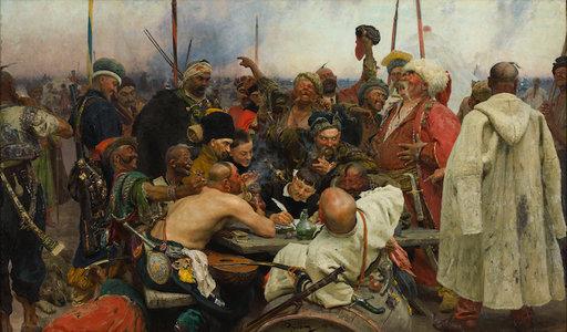 Ilja Repin: Zaporogit kirjoittamassa pilkkakirjettä Turkin sulttaanille (1880–1891). Venäläisen taiteen museo. © Venäläisen taiteen museo, Pietari