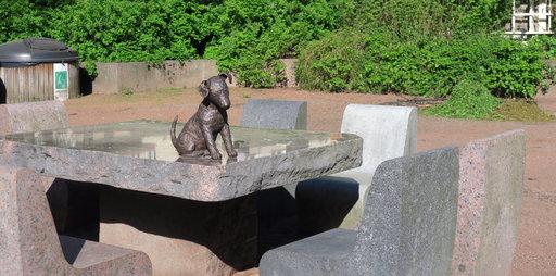 Pieni koira odottaa Sibeliuksenpuistossa seuraansa piknik-vieraita.