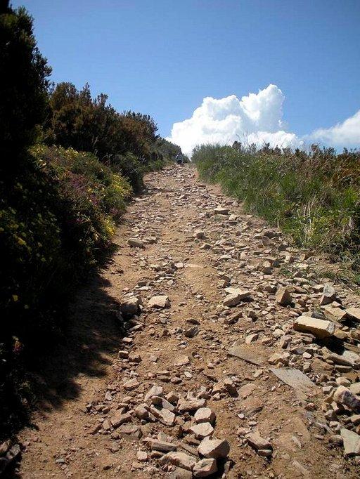 Kivinen vuoristopolku kohti Leonia.