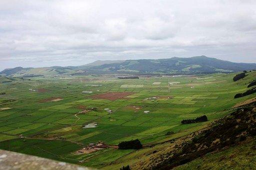 Kiviaidat rajaavat viljelyalueita tulivuorilaaksossa.
