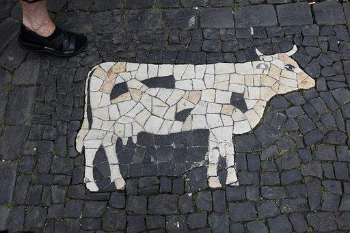 Katukiveystä lihakaupan edessä koristaa mustavalkoinen lehmä.
