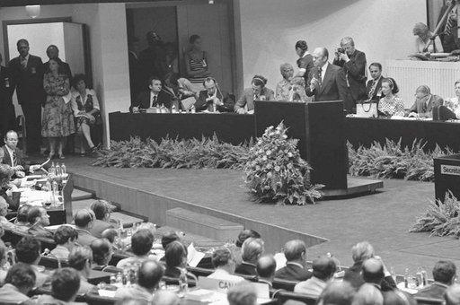 Gerald Ford puhumassa Helsingin ETY-kokouksessa 01.08.1975. Photo: Gerald R. Ford Library
