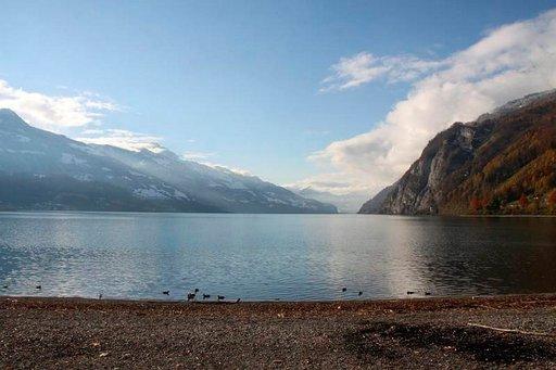 Sveitsi on Suomen tavoin tunnettu useista puhtaista ja kauniista järvistään. Kuvassa Walensee.