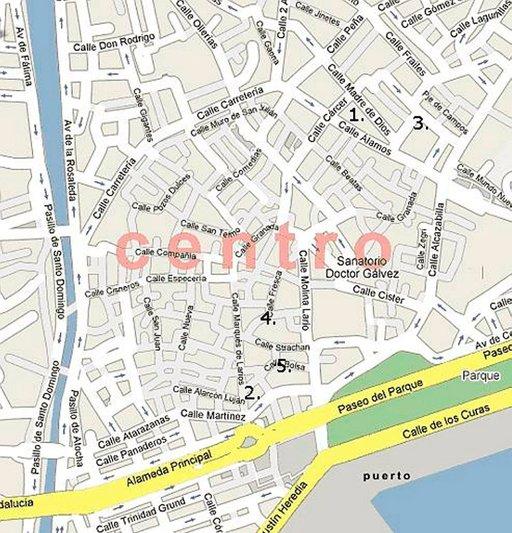 Tapas-ravintolat on merkattu Malagan karttaan numeroilla 1-5.