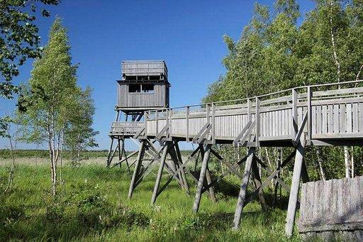 Kirkkosalmen lintutorniin pääsee luiskaa pitkin vaikkapa lastenvaunujen kanssa.