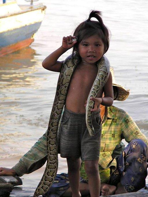 Köyhyys näkyy kaikkialla Kambodžassa. Tämä tyttö kantoi elävää käärmettä saadakseen matkailijoilta rahaa.