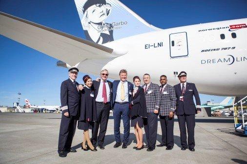 Norwegianin ensimmäinen<br /> 787-9 Dreamliner laskeutui Osloon