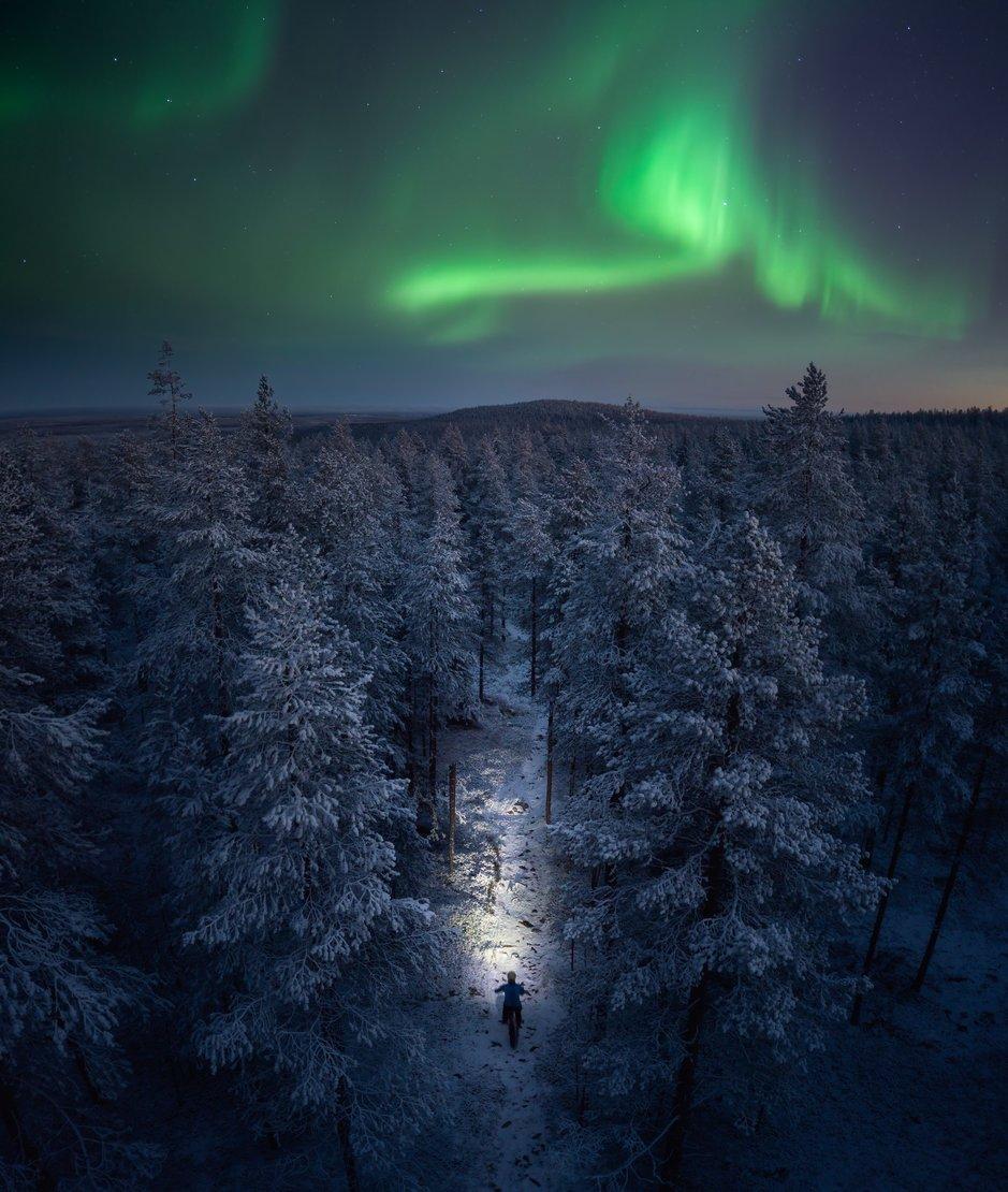 Talvipyyörailyä Rovaniemen yössä. Kuva: Roll Outdoors.