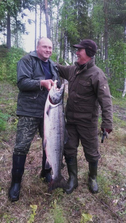 Sami Vilén ja Tauno Tiihonen nappasivat yhden kesän suurimmista lohista Torniojoella. Kuva: Honkasuvannon Majat
