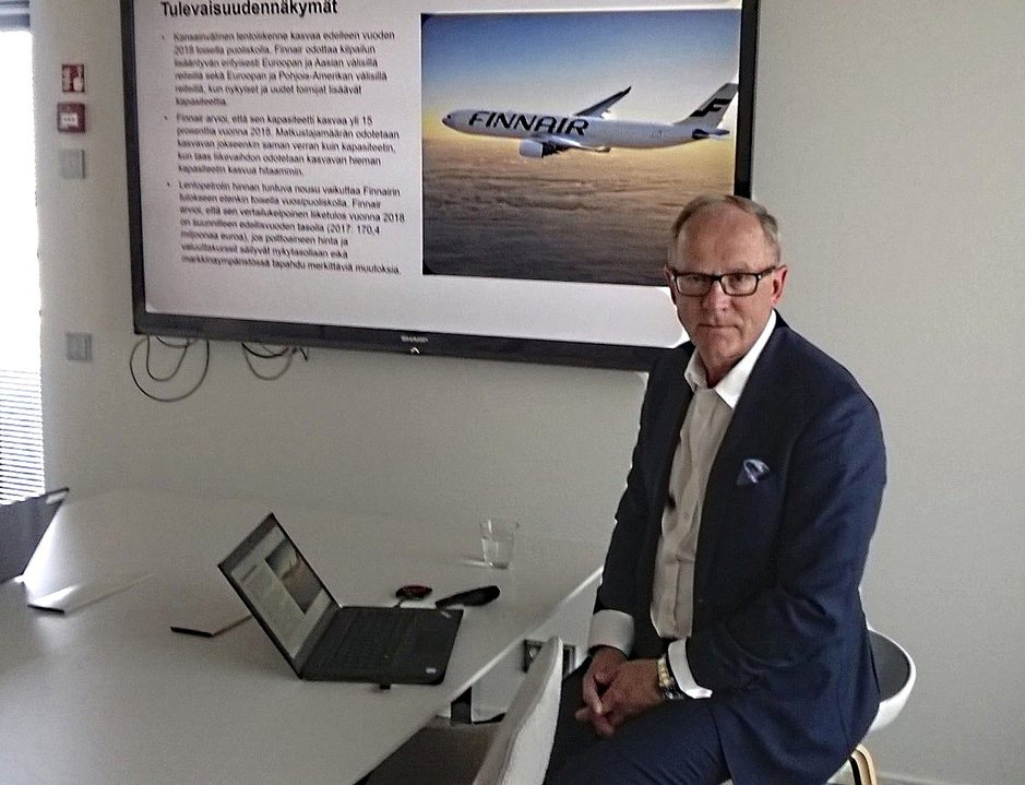 Toimitusjohtaja Pekka Vauramo esittelee vielä yhden kvartaalin lokakuussa. Finnairin hyvää tuloskehitystä varjostaa yksi huoli: kohonnut polttoaineen hinta.