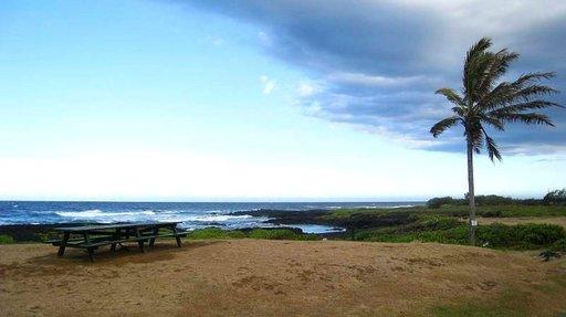Big Islandin eteläkärjessä rantahiekka on mustaa.