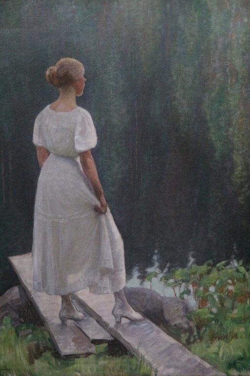 Pekka Halonen: Nainen rannalla, 1920, öljy kankaalle.