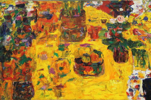Rafael Warfi: Keltainen asetelma, 1980-luku, öljy kankaalle.