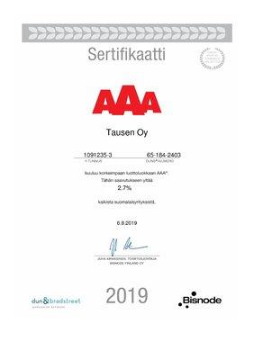 Tausen Oy kuuluu AAA-luottoluokkaan