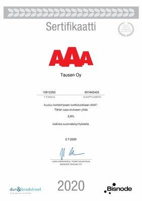 Tausen jatkaa AAA-luottoluokassa